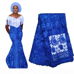 African Nigerian Lace Fabric For Wedding 2020 Bridal Laces Fabric Blue Purple French Swiss Lace Fabric Wholesale BF0033