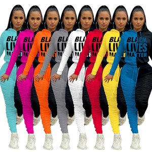 Women Two Piece Outfits Sports Tracksuits Offset Stitching Pleated Pants Fabric Thickened Sportsuit Hit The Color Print Jogging Suits2020