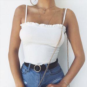 Women Crop Top Plus Size Lace Vest Summer Top Wireless Off Shoulder Halter Sexy Ruffles Tank Tee Camisole Feminino T1P