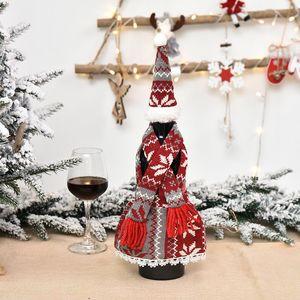 Christmas Champagner Flasche Abdeckung Schürze Set Design Festival Weihnachten Rotwein Flasche Abdeckung Tisch Wein Flasche Dress Up Requisiten FWA2411
