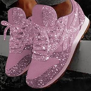2019 Herbst Designer Schuhe Frauen Pailletten Lace-up Platform Sneakers Niedrige Top Trainer Luxus Freizeitschuhe Größe 35-43