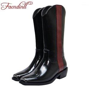 Facndinll Mulheres Botas Nova Moda Couro Genuíno e Patente Couro Quadrado Med Heels Sapatos Mulher Preto Joelho Alto Boots1