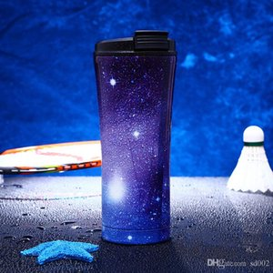 Stainless Steel Vacuum Cup Trend Design Starry Sky Straw Mug For Outdoor Sports Travel Practical Water Bottles Easy Carry 50jz cc