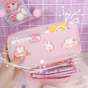 Kawaii Pencil Case Large Capacity Student Stationery Storage Bags with Bridge Cute Cosmetic Pouch School Supplies for Girls