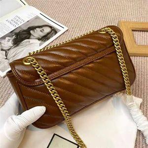 Últimas Lujos Crossbody Bolsa Cadenas Correa Baguette Bags Bags Real Cuero Caramelo Color Bolso Hombro Sarga Bolsos Double G Impresión 18cm