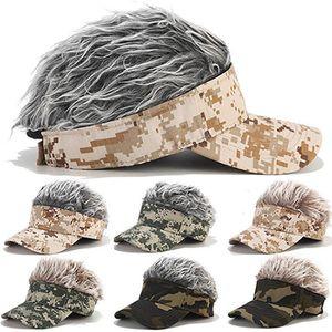 Falsa del pelo del sombrero gorra de béisbol del sombrero quimioterapia Deporte Caza Escalada Casquillo divertido de la novedad de la peluca ajustable del visera del sombrero de Sun IIA890