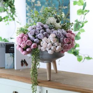 27 Heads Artificial Silk Rose Flower Bouquet Wedding Bride Holding Home Table Decoration Craft Fake Flower Floral Bouquet