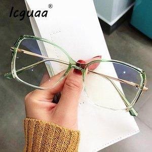 vidrios ópticos ICGUAA Anti-azul claro espejo plano irregular vasos del polígono marco miopía femenina Marco del gradiente gafas de sol