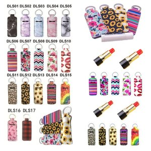 Newest Neoprene Chapstick Holder printed Handy Lip Balm Keychains Neoprene Keychain Lipstick Holder pouch Keychain Party Favor 6110