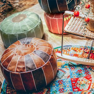 Coussin de siège marocain rond Cuir PU domestique Décor Artisanat Sile Siège Hassock Ottoman Foottool Grand oreiller assise insufflé Y1222