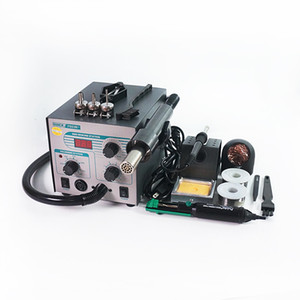 QUICK 706W+ 2 In 1 Digital Soldering Station ESD Hot Air Gun Welding Solder Iron 220V for SMD Desoldering Rework Station with 3 Nozzles