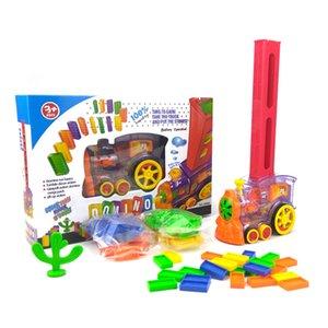 80pcs Automatic Domino Brick Laying Toy Domino Train car set Bridge Bell kit Colorful Plastic Dominoes Block Birthday Gift 2019