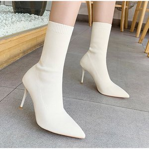 Women's Shoes Stretch Fabric Sock Boots Autumn Winter Mid-calf Sexy Ladies Thin High Heels Pointed Toe Female Pumps 2020 Q1201