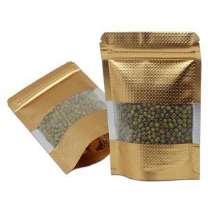 100pcs Stand Up Up Up Gold Up Gold Zip Block Parech Package Bag Food Alluminio Foil Reusable Zipper Window Sundries regalo Deposito Borsa da imballaggio