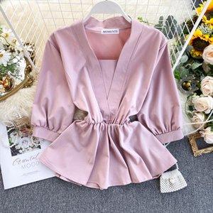Womens Temperament Shirt Spring Autumn Design Ruffles Lace Up Waist Wild Shirt Tide Solid V Neck Three Quarter Shirts Top ML673