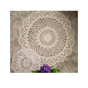 2size Hot Cotton Round Placemat Cup Coaster Mug Kitchen Christmas Table Place Mat Cloth Lace Crochet Napkin Doily Hand jlloHP