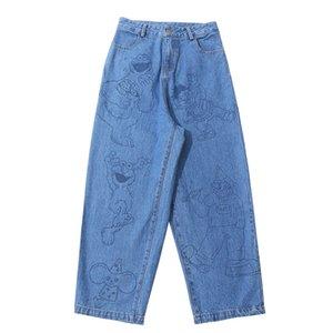BF Harajuku Fashion New Design Women Jeans Full Length Zipper Cartoon Bears Straight Pants Femme Denim Trouser High Quality A1112
