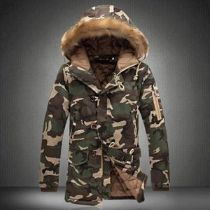 Men's Warm Jacket Winter Couples Wear Camouflage Big Fur Collar Mid-length Padded Coat Men and Women Thick Outdoor Man Hoodies