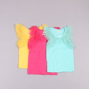 Clearance sale Children Tank Tops Girls Kids Summer Candy Color Casual Vests Sleeveless T Shirt Fashion Lace Princess Tank Tops Z190