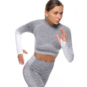 Seamless Yoga Suit Gymwear Workout Clothes Long Sleeve Gym Crop Top High Waist Leggings women Sports tracksuits Wear sportwear Free shipping