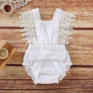 2019 niños diseñador ropa chicas verano encantador recién nacido bebé niñas mameluco ruffles manga arco sólido backless emitsuits trajes 7kdd