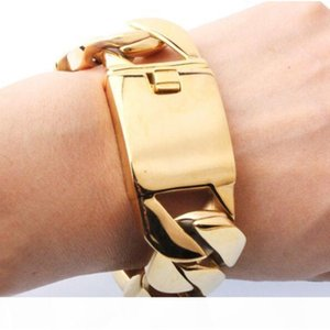 23cm (9 inch) or 21.5cm (8.5 in) Jewelry Large 316L Stainless steel jewelry Gold Miami cuban curb chain bracelet bangle Heavy Huge 26mm Mens