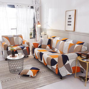 Modern Simple Stretch Elastic Sofa Cover Geometric Series Loveseat Couch Cover 1 2 3 4-seat Armchair Protector Furniture Covers
