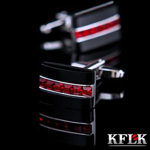 KFLK Takı Moda Gömlek Kol Düğmesi Erkek Hediye Marka Düğmesi Için Kırmızı Kristal Manşet Bağlantı Yüksek Kalite Abotoaduras Konuklar