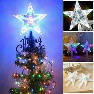 Treetop Star Christmas Star Lights Christmas Tree Topper 3D LED Top Lights Auto Flash Party Decorations for Home