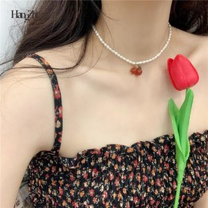 HangZhi 2020 New Korean Elegant Retro Pendant Choker Freshwater Pearls Cherry Necklace For Women Party Summer Vacation Jewelry