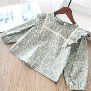 2021 Spring New Girls Floral Impreso Camisas Niños con volantes de manga larga Blusa Niños Cotton Princess Tops A5537
