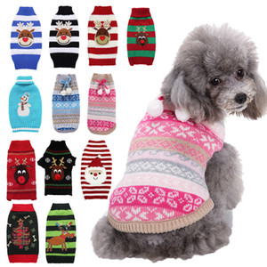 Christmas Dog Clothes Small and Medium-sized Dog Teddy Clothes Santa Claus Elk Snowman Print Striped Pet Clothes XD24285