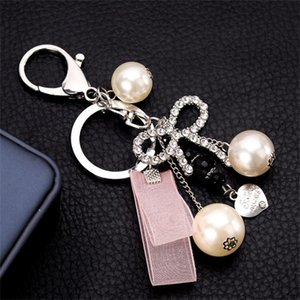 Lovely Crystal Bowknot Keychain Key Ring Charm Purse Bag Pendant Gift