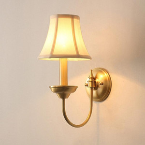 Luminaria Post Modern Copper Bedroom Bedside E14 LED Wall Sconce American Simple Aisle Stairs Deco Wall Light Fixtures