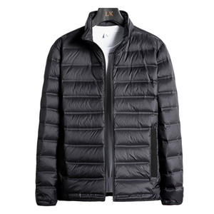 Men's new winter lightweight down jacket plus extra size solid color youth standing collar sports coat