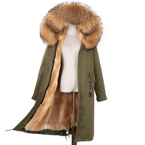 NEW Women's Parka Real Fox Coat With Hood Rex Rabbit Iiner Winter Jacket Natural Fur Parkas 201126