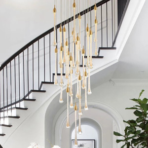 Luxury modern crystal chandelier for staircase large gold drop design led cristal lamp long villa lobby hanging lighting fixture