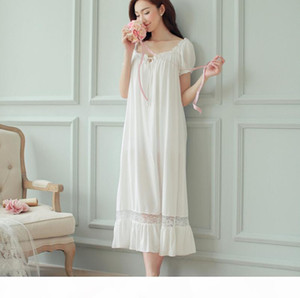 Wholesale- New Ladies Nightgown Cotton Night Dress Short Sleeve Lace Spring Sleepwear Home Night Shirt Nightwear Homewear For Women SQ62