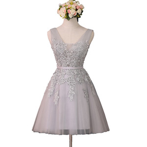 Short A Line Silver Homecoming Dresses V Neck Lace Appliqued Lace-up Prom Gowns Cheap Bridesmaid Cocktail Dresses