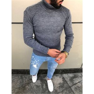 Man Stripe Solid Color Knitting Sweaters Fashion Trend Long Sleeve High Neck Pullover Sweater Male Spring Skinny Casual Bottoming Top