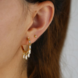 2020 new design floating CZ fashion trendy women jewelry baguette cz charm Huggie hoop earring