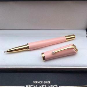 Stylo de promotion 6 couleurs stylo à bille en métal / stylo à boule à rouleaux avec pince perle de haute qualité dame de recharge stylos