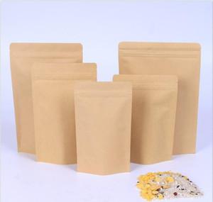 Pochette en aluminisation Kraft Brown Brown de 1000 pcs, stand up kraft papier aluminium sac de feuille d'aluminium refermable joint de serrure de fermeture à glissière Fehop01