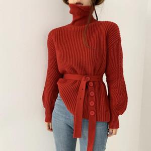 Donne nuove inverno inverno maniche lunghe maniche lunghe pullover a maglia sfuso retrò elegante maglioni femminili con cintura
