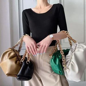 Famous Designer Bramd Soft Genvine Leather Ladies Pouch Bag With Big Metal Chain Messenger Hand Bag For Women