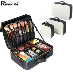 Boîte de rangement cosmétique de cosmétique cosmétique professionnel en cuir PU Nouvelle entreprise de maquillage de voyage Beauté Beautiful Nail Tool Valise pour femmes1