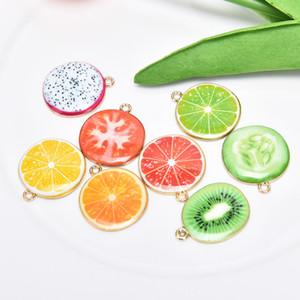 Sıcak 10 adet Meyve Charms Apple Domates Limon Ejderha Meyve Kivi Kolye Emaye Yağ Damlası Charms Takı Yapımı Dekor Aksesuar