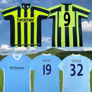Retro 2011 12 Champions City Classic Soccer Jersey 1998 99 Tevez Kun Aguero Silva Toure Yaya Zabaleta Nasri Dzeko Camicia da calcio antica