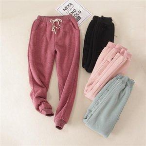 Женские брюки CAPRIS CHRLEISURE Зима толстые для женщин на шнуровке, длина лодыжки с протяженностью твердого кашемира с твердым кашемиром.