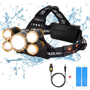 LED Rechargeable Headlamp,Ultra Bright Zoomable USB Head Lamp with Red Light, High Lumen 5 LED 4 Modes IPX4 Waterproof Headlamps for Camping